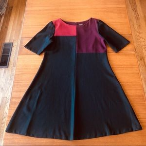 60s-Inspired Color Block Crepe A-line Dress